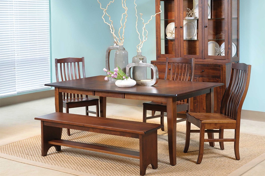 casual dining setting with bench