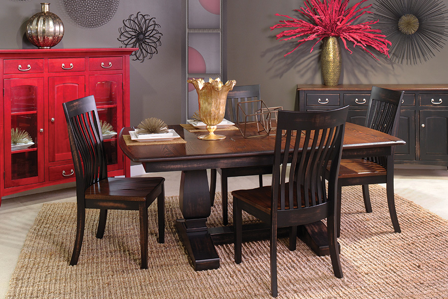 two-tone double pedestal dining collection