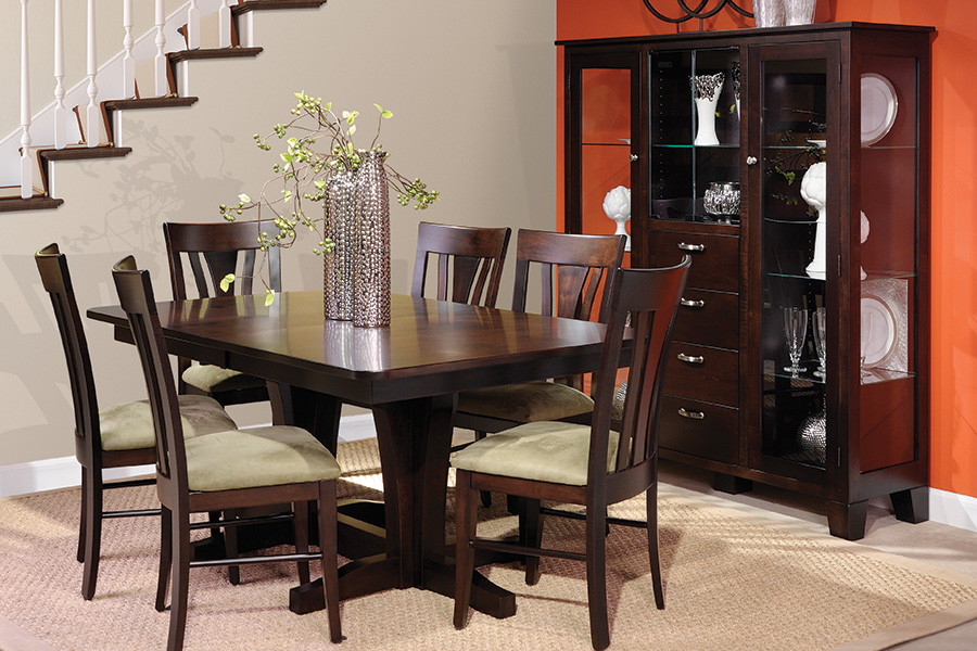 double pedestal table with china gallery