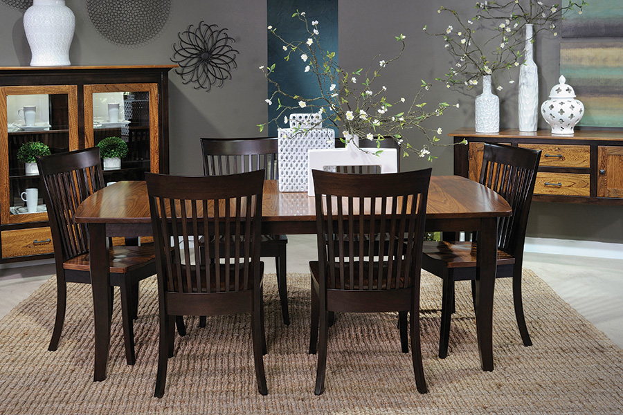 two tone elm brown maple dining room collection