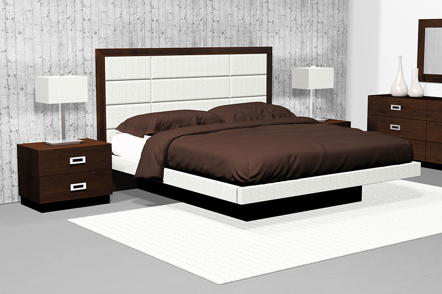 american modern 12 panel upholstered queen platform bedroom