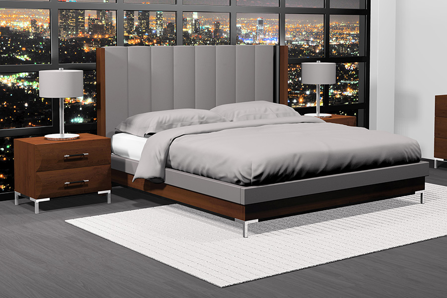 american modern vertical upholstered bedroom set