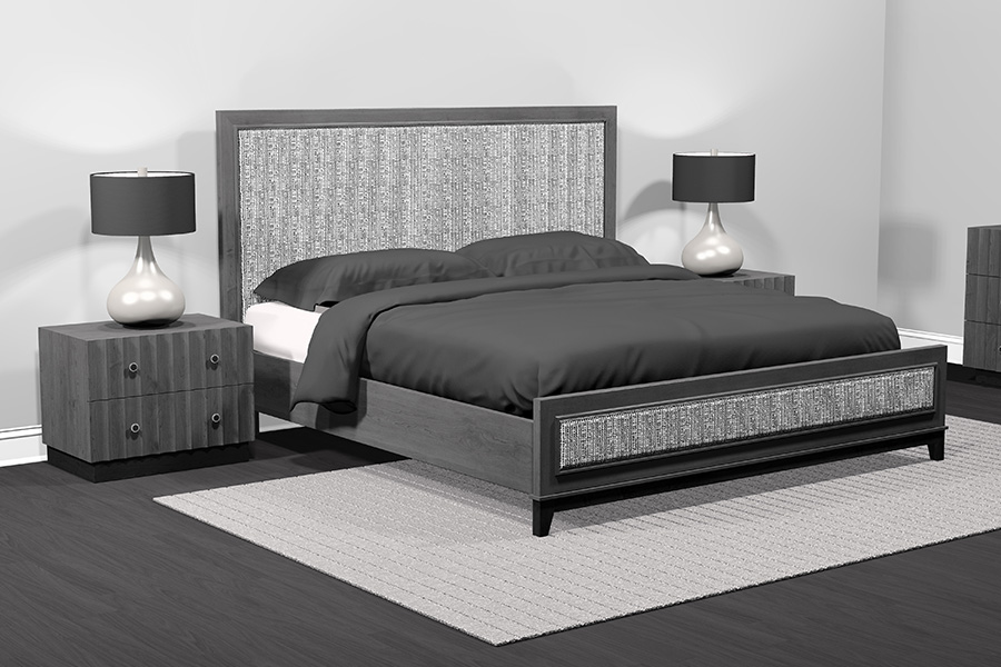 american modern 1-panel upholstered bed