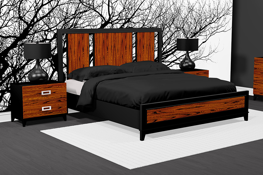 American modern wood queen bedroom