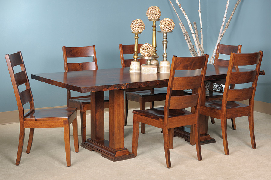 salt creek live edge trestle table set