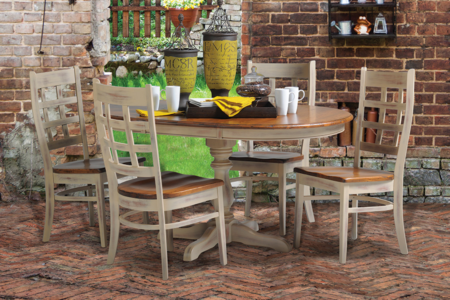 two tone rustic cherry brown maple single pedestal dining set