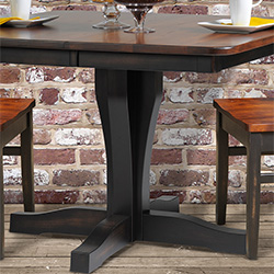 AmishMade USA Furniture Handcrafted Hardwood Furniture By Country - Single pedestal rectangular dining table