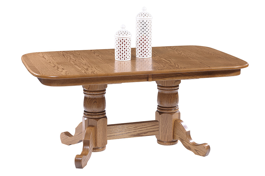 square round double pedestal table
