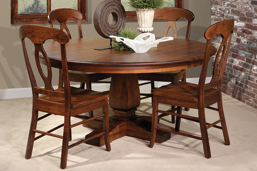 square and round top single pedestal table