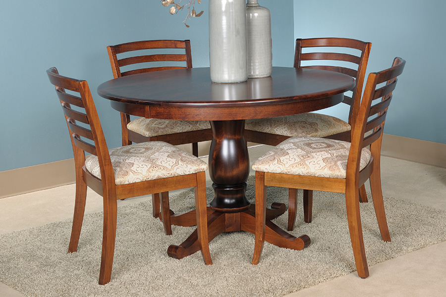 Solid Top Single Pedestal Table Amish Handcrafted And USAMade Custom American Made Dining Room Furniture