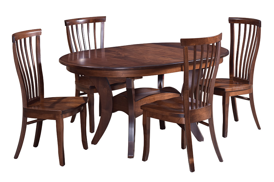 premier express 42 x 60 trestle table with four side chairs from cvw
