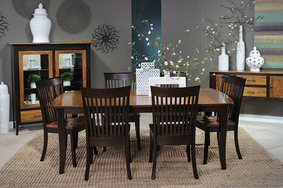 rectangular and oval top leg table
