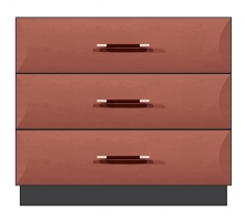 36 inch 3-drawer bedside chest