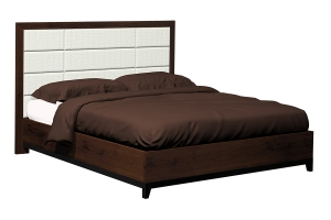 modern queen bed 12 panel upholstered headboard wood leg